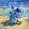 Mother Daughter Beach Original Watercolor Painting