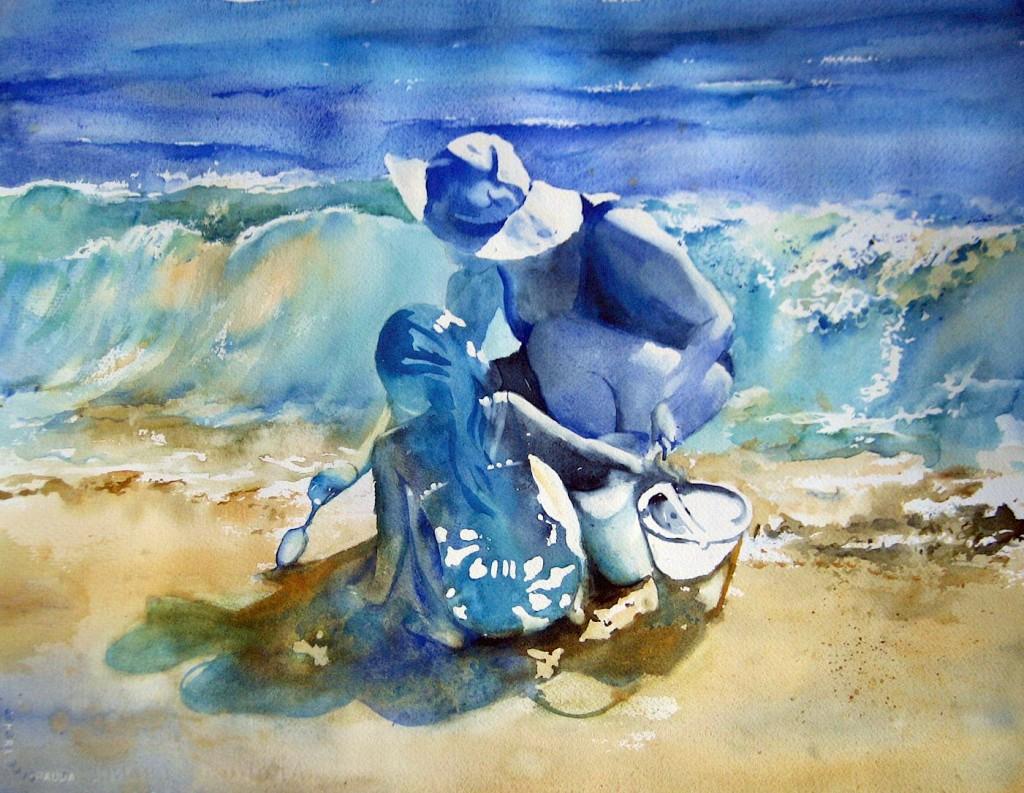 Mother Daughter Beach Original Watercolor Painting