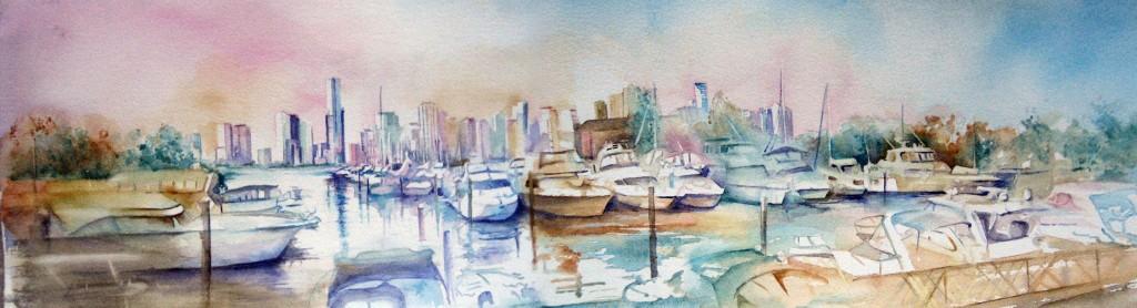 Miami Florida original watercolor painting