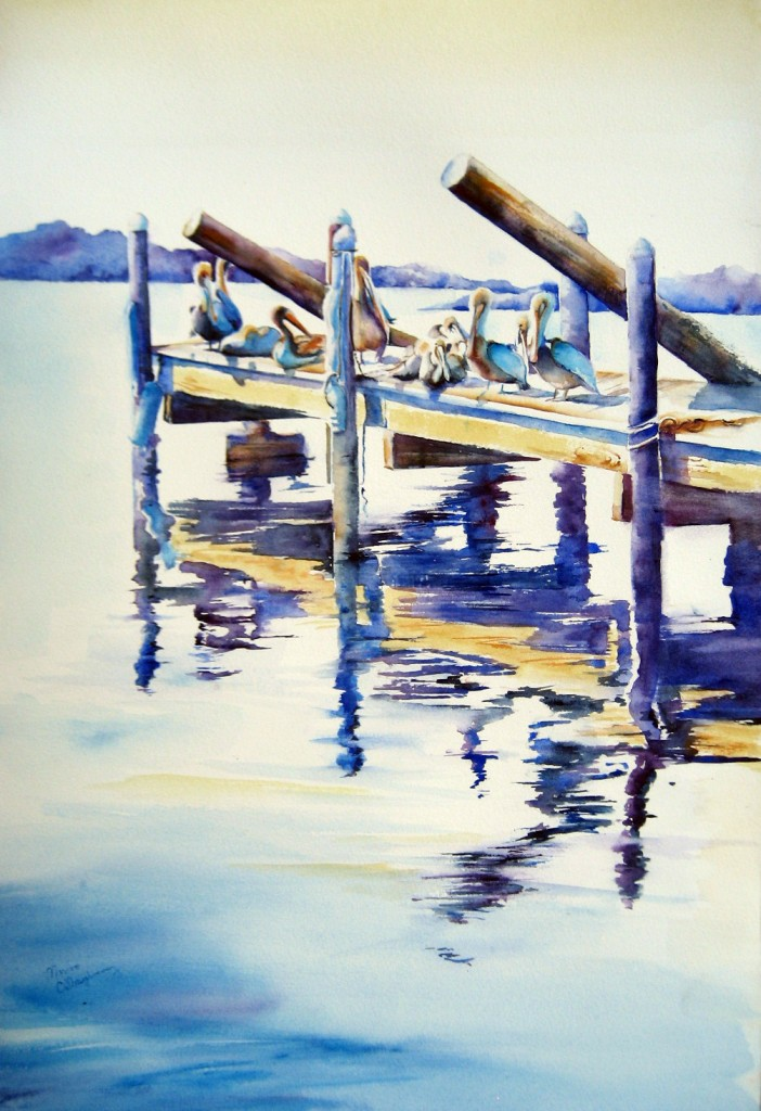 Pelicans Watercolor Painting Florida
