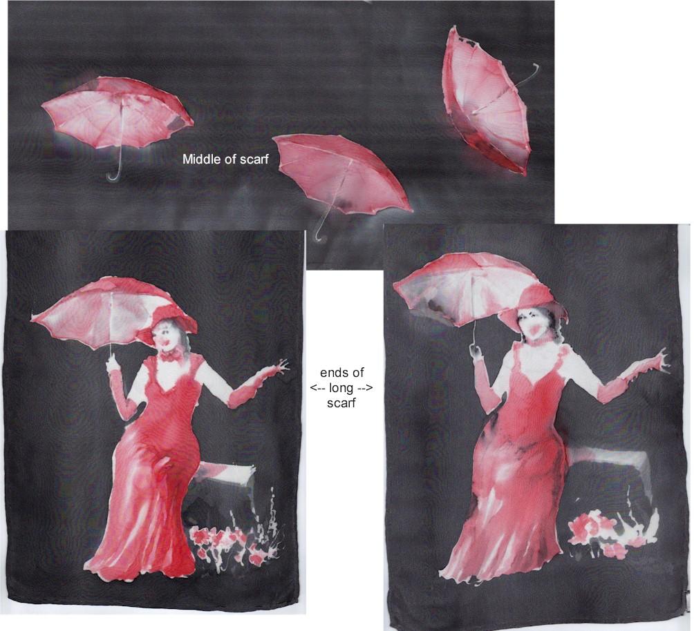 Hand painted silk scarf lon of La Boca Lady