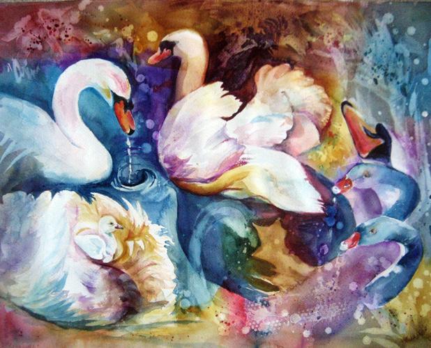 Original Watercolor Swans Abstract
