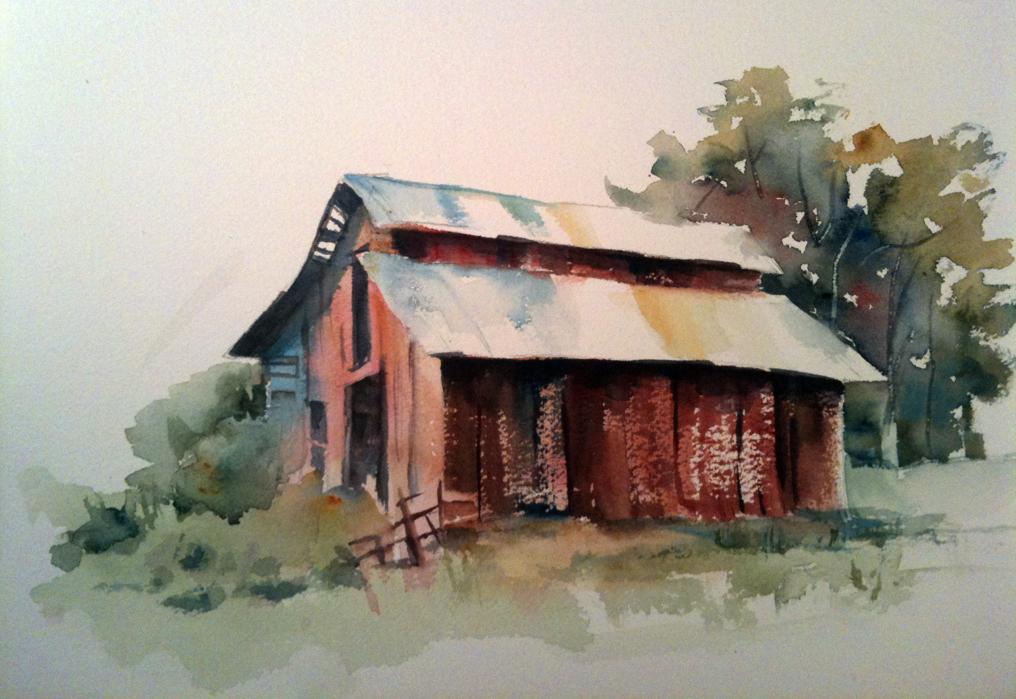 Introduction to watercolor classes watercolors by marian for Watercolor barn paintings
