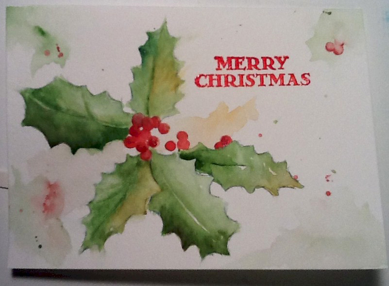 Christmas holly card watercolors by marian for Painted christmas cards