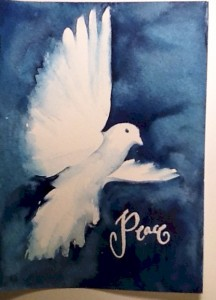 Watercolor Holiday Card Peace Dove