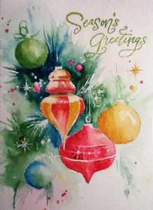 Watercolor Painting Christmas Ornaments