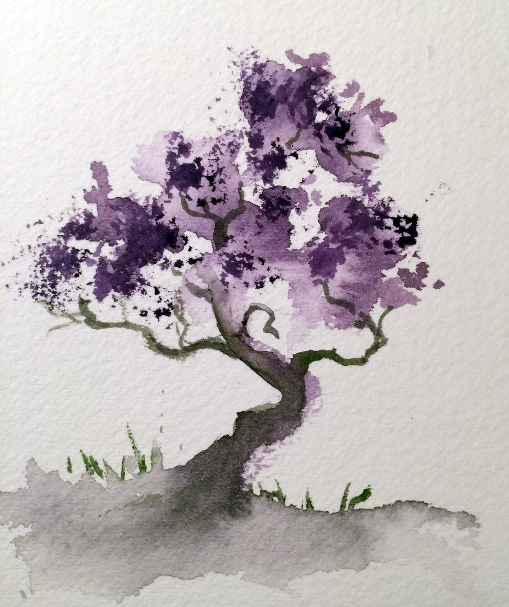 Watercolor bonsai tree watercolors by marian for Watercolor painting images