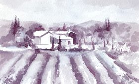 Wine Painting of Lavender Fields